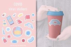 Covid virus stickers. Coronavirus badges, stickers coronavir Product Image 1