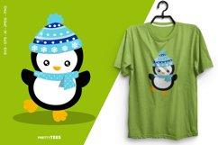 Baby Penguin Blue Scarf T-Shirt Design | Sublimation T-Shirt Product Image 1