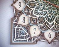 C16 - Laser Cut Wall Clock DXF, Mandala Clock, Wooden Clock Product Image 4