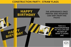 Construction party decorations, kids party straw flags Product Image 4