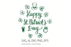 Happy St Patrick's Day SVG Quote, Hat, Beer, Shamrock SVG Product Image 1