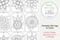 Retro Pop Flower Gift Tags to Color, Set of 9 Product Image 1