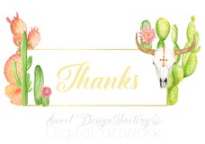 Watercolor cactus and longhorns clipart Product Image 4