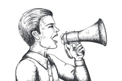 Megaphone sketch. Hand drawn loudspeaker engraving illustrat Product Image 1