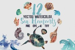 12 Vector Watecolor Clipart Sea Elements, png, tiff, ai, eps Product Image 1