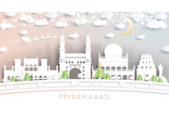 Hyderabad India City Skyline in Paper Cut Style Product Image 1
