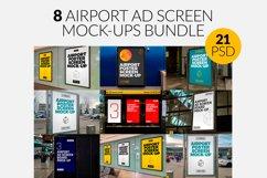 8 Airport Ad Screen Mock-Ups Bundle / 21 PSD Product Image 1