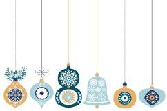 Blue Christmas Ornaments, Balls, Baubles, Bells Clip Art Set Product Image 2