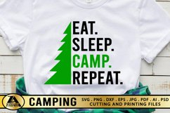 Camping SVG PNG EPS DXF Eat Sleep Camp Repeat SVG Camper SVG Product Image 1