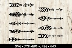 Set of arrows with feathers. Boho style. SVG cut files. DXF. Product Image 1