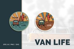 Van life Graphic. Two round logos in doodle style Product Image 1