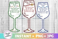 Wine Glass Holiday Care Card Pack, PNG, Print and Cut Product Image 1