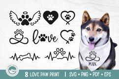 Paw Print SVG Cut Files - Love Dog Paw SVG Bundle Product Image 1
