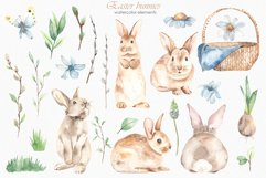Easter bunnies watercolor Product Image 2