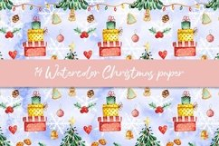 Watercolor Christmas digital paper, seamless pattern Product Image 6