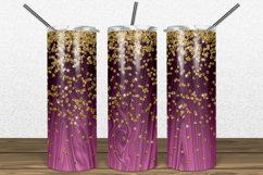 Hot Pink Wood Gold Glitter 2oz Skinny Tumbler Sublimation Product Image 1