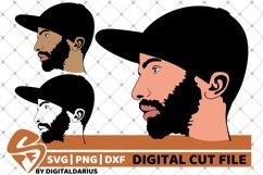 3x Beard Man with Cap svg, Hipster beard svg, Mustache svg Product Image 1
