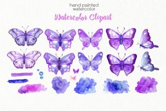 Watercolor Purple Butterflies - PNG Files Product Image 2