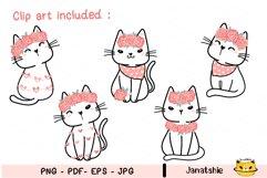 Cute cat Valentine Clip art set, Sweet kitten Valentine Product Image 3