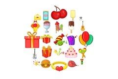 Natal day icons set, cartoon style Product Image 1