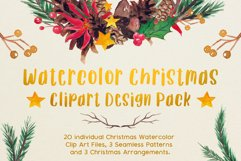 Very Merry Christmas Watercolor Clip Art Pack! Product Image 1