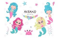 Cute mermaid clipart, PNG, EPS, JPG, 300 DPI Product Image 1