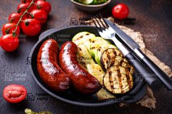 Grilled sausages and vegetables Product Image 1
