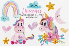 Watercolor baby unicorn clipart, hand painted unicorns Product Image 1