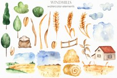 Watercolor Windmills. Cards, frames, wreaths, patterns Product Image 10