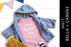 Kids Pink Bella Canvas 3001T Mockup T-Shirt Infant Flat Lay Product Image 1