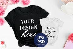 Valentine's day Black t-shirt & Baby bodysuit Mockup PSD Product Image 1