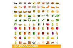 100 food icons set, cartoon style Product Image 1