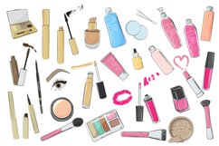 Cosmetics bundle clipart, make up and skincare eps, png. Product Image 2