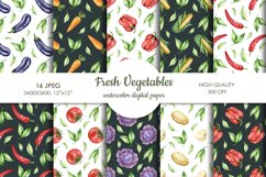 Watercolor vegetable mix digital paper pack. Food texture. Product Image 1