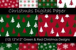 Christmas Digital Paper - Red and Green Christmas Background Product Image 1