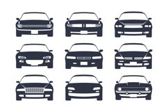 Car black silhouette. Cars front view icon set, vehicle mono Product Image 1
