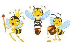 Set of Six Cartoon Bees Character Product Image 3