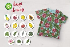 Botanical tropical vector set of fruits and leaves Product Image 4