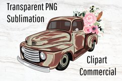 Rustic Truck, Vintage Truck, Old Truck Clipart, Sublimation Product Image 1