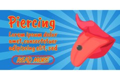 Piercing concept banner, comics isometric style Product Image 1