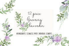 Greenery Lavender Wedding Watercolor Clip Art Illustrations Product Image 1