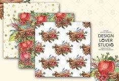 Watercolor Apple Cinnamon digital paper pack Product Image 3