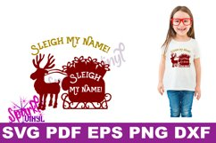 Svg Sleigh My Name funny Shirt Sign stencil Decal printable or svg cut file dxf eps png pdf for cricut or silhouette Product Image 2