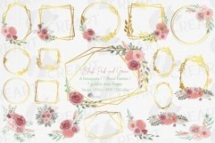 Watercolour blush flowers & green leaves bridal templates. Product Image 1