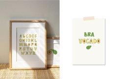 Avocado Alphabet Set, Avocado Letter Clipart, SVG, PNG, Product Image 2
