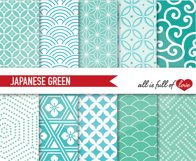 Japanese Backgrounds in Mint Green Digital Graphics Printable Product Image 1