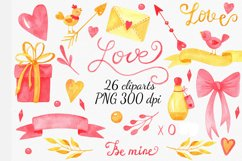 Valentines Day cliparts, pink and gold love graphics Product Image 1