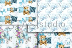 Baby Boy Paper Pack Blue Seamless Pattern New Baby Cute Set Product Image 3