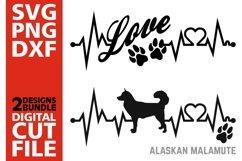 2x Alaskan Malamute Bundle svg, Dog svg, EKG svg, Love svg Product Image 1