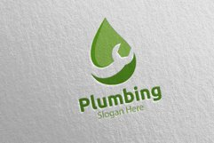 Plumbing Logo with Water and Fix Home Concept 42 Product Image 5